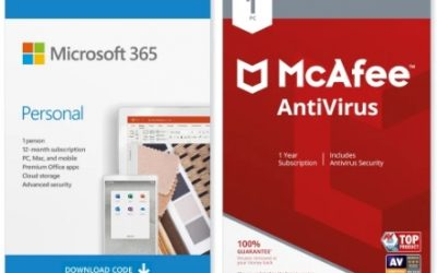 Microsoft 365 Personal and McAfee Antivirus Bundle (1 Year Subscriptions) – EXPIRED